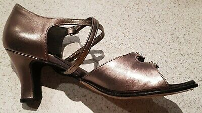 Ballroom/Latin Leather Dance Shoes Pewter Size 9 - 1/2 Price!