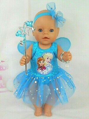 "Dolls clothes for 17"" Baby Born doll~FROZEN SISTERS FAIRY DRESS~ACCESSORIES"