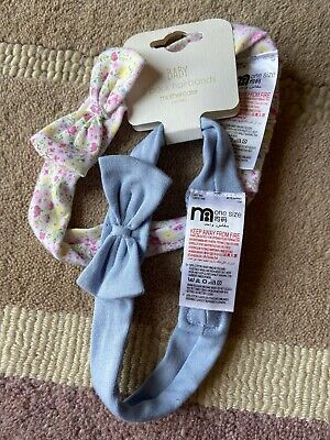 2 Pack Hairbands Baby Cotton Blue Ditsy Pink Floral One Size Mothercare