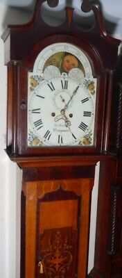 "Antique Mah / Oak  Moon Phase  "" Bridgewater ""  Longcase / Grandfather Clock"
