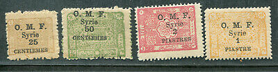 French Colony Syria Syrie 4 Ovpt Values To 2 Piastres On Arab Kingdom Mh