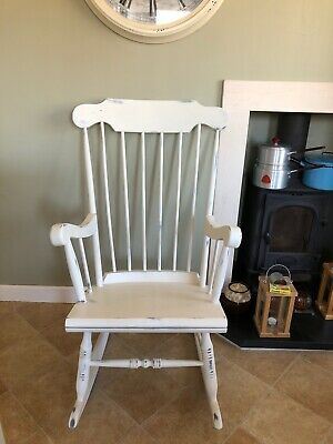 Beautiful Solid Wooden Painted Shabby Chic Style Spindle Back Rocking Chair