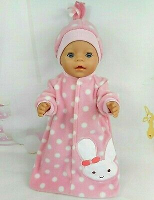 "Dolls clothes for 17"" Baby Born doll~BUNNY RABBIT PINK/WHITE SPOTS SLEEPING BAG"