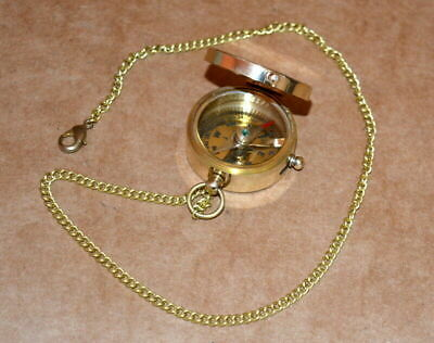 """Antique vintage solid brass 1"""" compass shiny brass collectible compass good gift"""