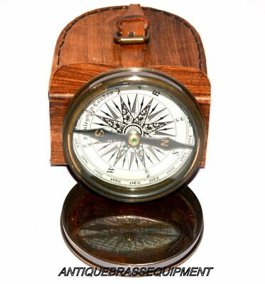 """Antique vintage  3"""" Brass poem compass maritime stanley london with Leather Case"""