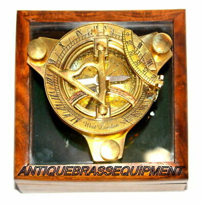 3'' Brass Sundial Compass Nautical Decor From West London With Wooden Box