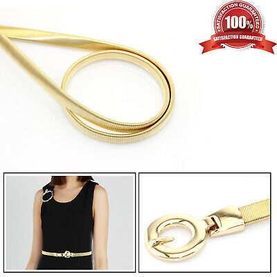 Ladies Fashion Gold Stretchy Waist Belt Buckle Thin Design Waistband for Party
