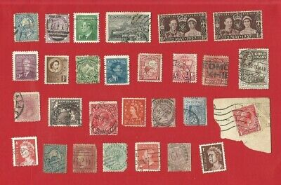 28 x GB & COMMONWEALTH USED STAMPS inc CANADA NSW DOMINICA VICTORIA (NR01)