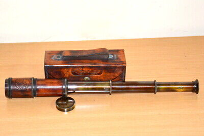 Antique vintage brass maritime marine telescope dollond london with leather box