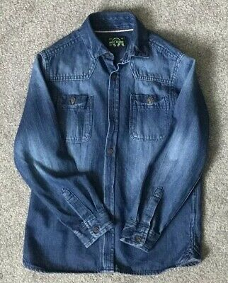 Next Boys Blue Denim Long Sleeve Shirt -  Age 7 Years -  In Superb Condition