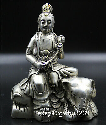 Chinese Old Tibet silver Hand carved  Guanyin Samantabhadra Elephant Statue