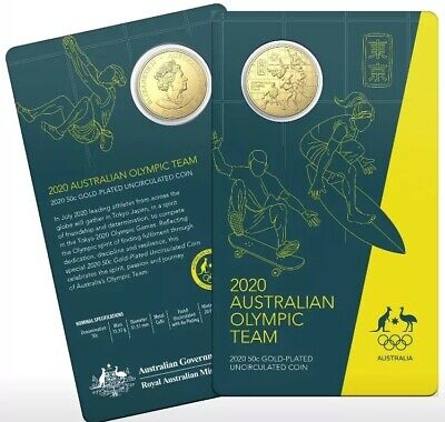 2020 Fifty Cents Carded GOLD Plated Australia Olympic Team RAM .50c Coin Aust