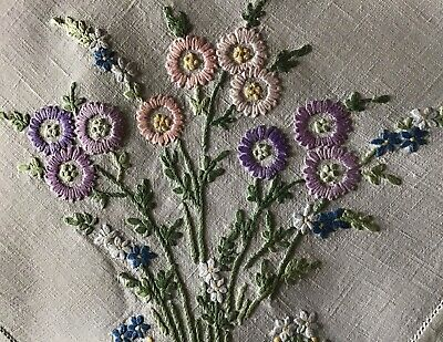 Stunning Vintage Linen Large Hand Embroidered Tablecloth~ Beautiful Florals.