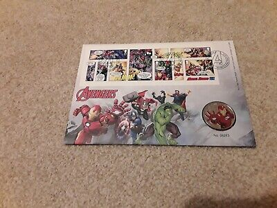 Royal Mail 2019 Marvel Comics Stamps Characters  Iron Man Coin + First Day Cover