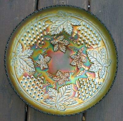 """Northwood  """"Grape & Cable""""  Green Carnival Glass Master Ice Cream Bowl."""