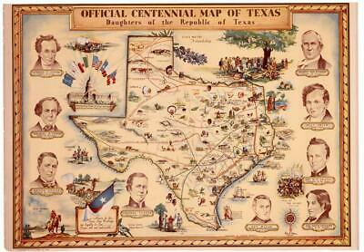 Official Centennial Map of Texas DRT Historical Reproduction Republic Flags Gift
