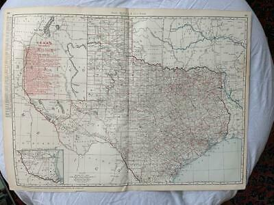 LARGE Rare Old Antique 1895 Texas Railroads Train Map - Rand McNally - Depots