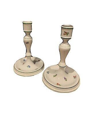 """Antique Herend Lindsay LY Floral Green Pair of Hand Painted Candlesticks 7"""""""