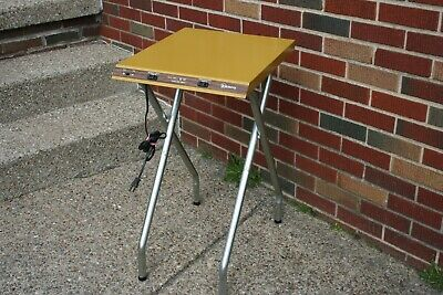 Vintage projector stand table Kenco Harvest Gold Folding wired outlets metal