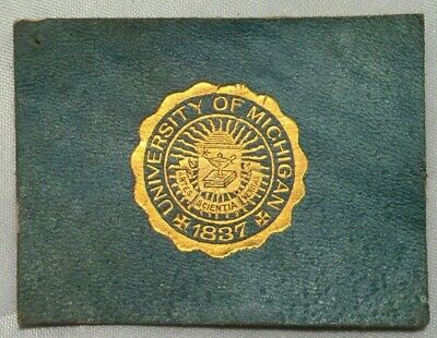 Early 1900's Tobacco Leather College Seals University of Michigan Gold Seal