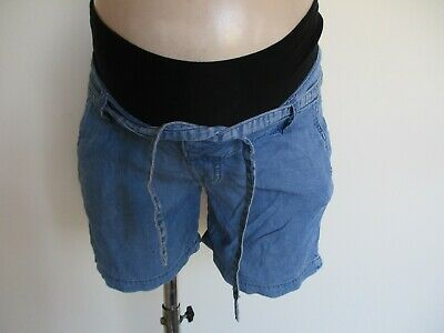 H&M Mama Maternity Blue Under Bump Denim Effect Shorts Size 8