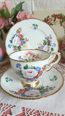 Royal Stafford Vintage China Tea Cup Saucer Plate Trio Floral Scalloped Gold