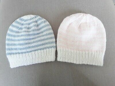 Two Gorgeous Hand Knitted Baby Hats size Newborn