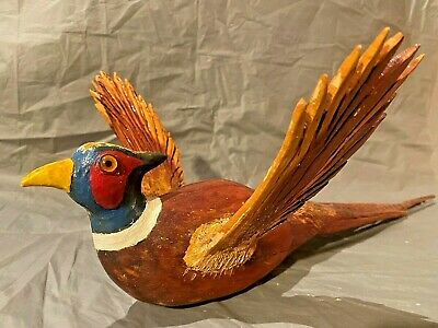 Hand Carved Hand Painted Wooden Pheasant