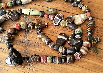 Ancient Beads, Islamic, Roman, Venetian Rare Mixed Collectible Bead Necklace
