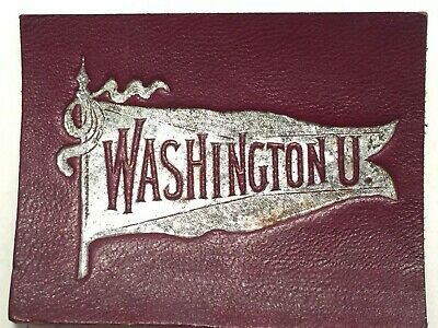 Early 1900's Tobacco Leather College Seals Washington University Silver Pennant