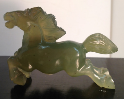 Hand carved Chinese hardstone figure of a Chinese horse of good fortune