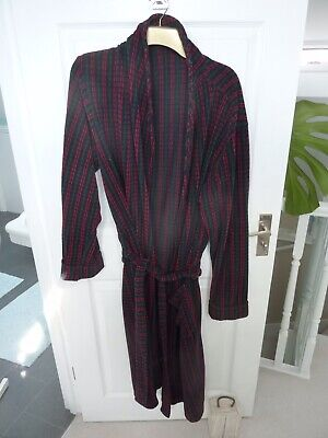Mens Marks & Spencer Cotton Green & Red Striped Bath Robe Dressing Gown Size L