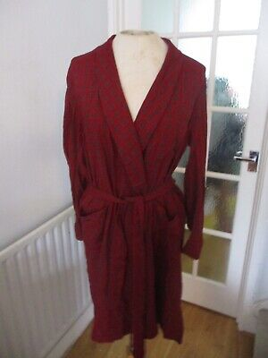 VTG 60s 70s COTTON RED BLUE PATTERNED SMOKING JACKET DRESSING GOWN ROBE S-M VGC