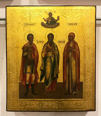 "19c. ANTIQUE RUSSIAN HAND PAINTED ICON ""Nikita, Simeon, Anna"" tempera on Gold"