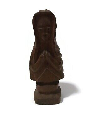 Vintage Folk Art Carved Wood Mother Of Mary Bust