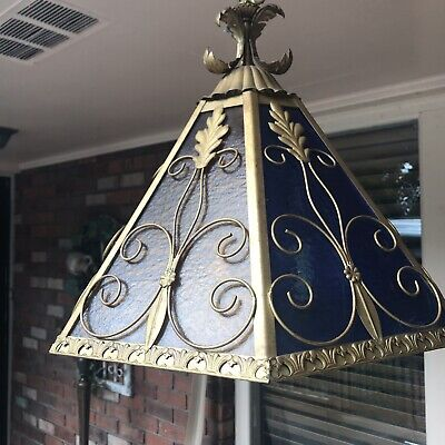 VTG.MISSION STYLE MULTI -COLOR STAINED GLASS PORCH FOYER PENDANT Light ITALY!