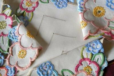 Beautiful Vintage Hand Embroidered Irish Linen Tablecloth~Pretty Coloured Floral