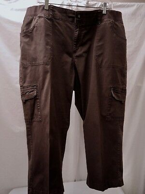 """Lee Relaxed Fit Brown Cotton Cropped Pants Comfort Knit Waist Plus 22W x 22.5"""""""
