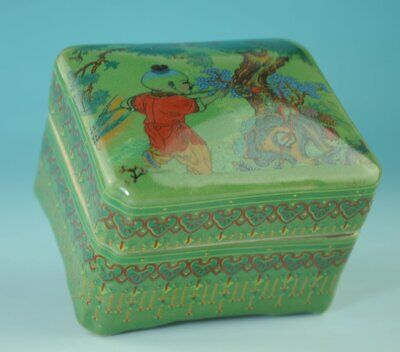 old china green glaze porcelain hand-made child box /qian long mark Cb01C