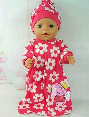 "Dolls clothes for 17"" Baby Born doll~PINK PEPPA PIG FLORAL SLEEPING BAG~HAT SET"