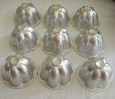 9 Small Aluminium Jelly Moulds