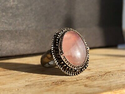 Antique Vintage Chinese Chinese Silver Filigree Rose Quartz Cabochon Ring