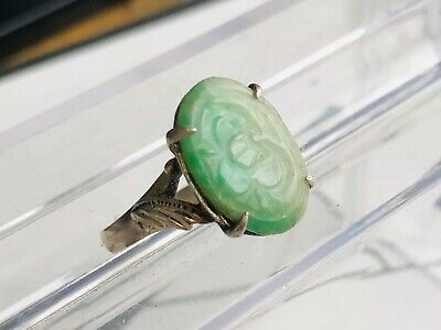 Antique Vintage Chinese Export Carved Silver Floral Pattern Jade Ring