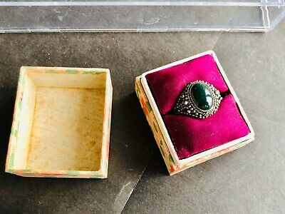 Antique Vintgae Chinese Export Silver Filigree JadeAdjustable Ring With Box