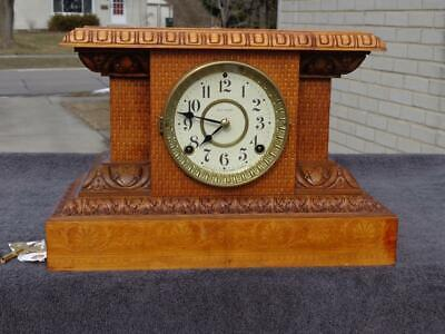 Seth Thomas Victorian Carved Antique Shelf Mantle Clock Model 820 Runs Good