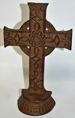 "Vintage Cast Iron Cross Rustic Ranch Decorative Standing Garden Church Art 8""t"