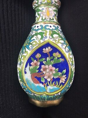 Antique Chinese cloisonne Small Terquoise Hand Painted Decor No Reserve Highest