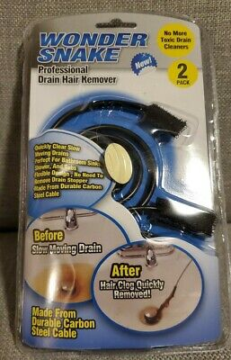 Wonder Snake Drain Hair Remover 2 Pack Clears slow drains SINK SHOWER TUB fix