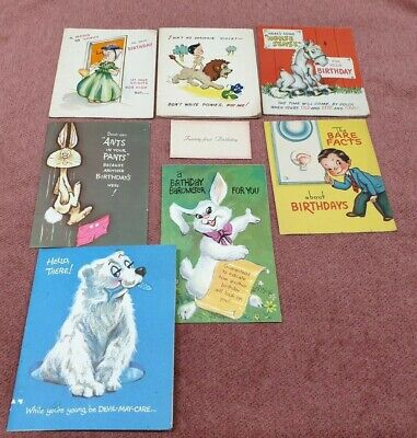 Vintage Birthday Card Used Condition Lot Of 8