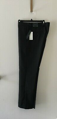 New Mens Perry Ellis Black Solid Slim Fit Wrinkle Resistant Dress Pants 32x30.